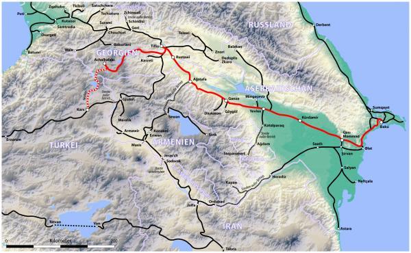 Bakı-Tiflis-Qars dəmir yolu (qırmızı xəttlə işarələnib)