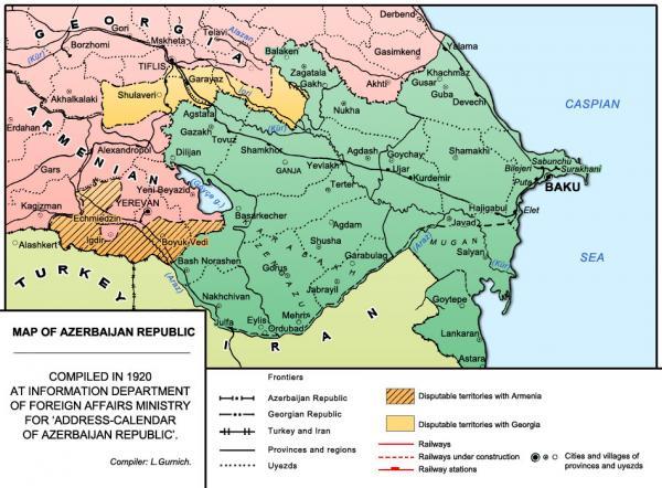 Azərbaycan Xalq Cumhuriyyətinin xəritəsi - 1918-20-ci illər