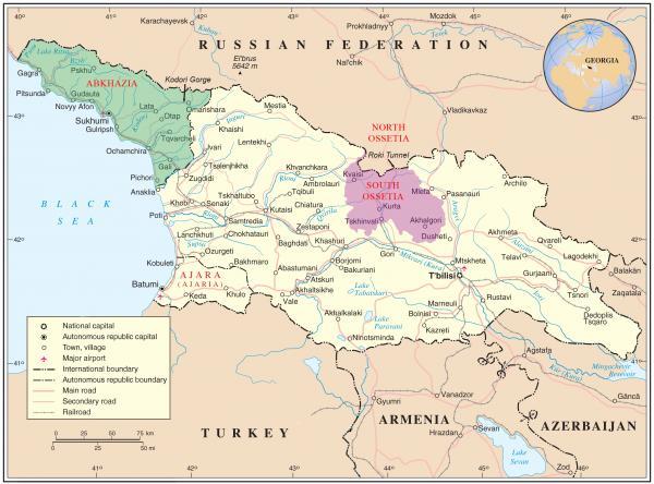 Gürcüstanın işğal edilmiş əraziləri - Abxaziya (yaşıl) və Cənubi Osetiya (narıncı)