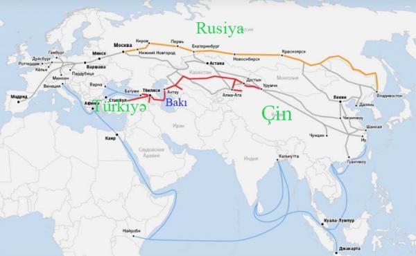 Çində Avropaya tranzit qollar: Rusiya (qəhvəyi), BTQ (qırmızı), dənzi (göy)