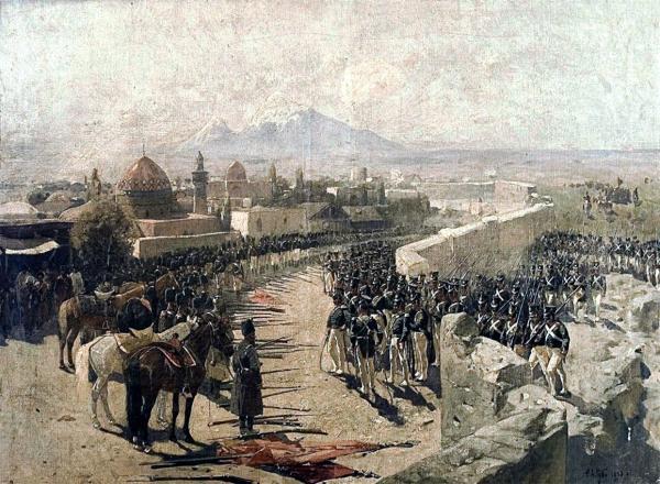 İrəvan qalasının təslim edilməsi, 1827-ci il - rəssam Frans Rubo 1893-cü ildə çəkib