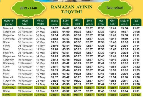 Ramazan 2019 Təqvim